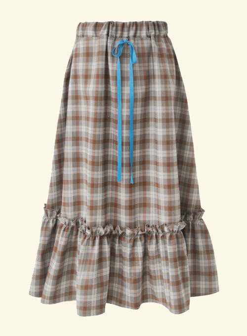 Becca Check Blue Ribbon Long Skirt