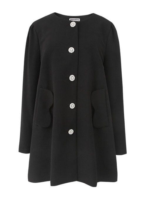 Sonia Pearl Button Black Coat