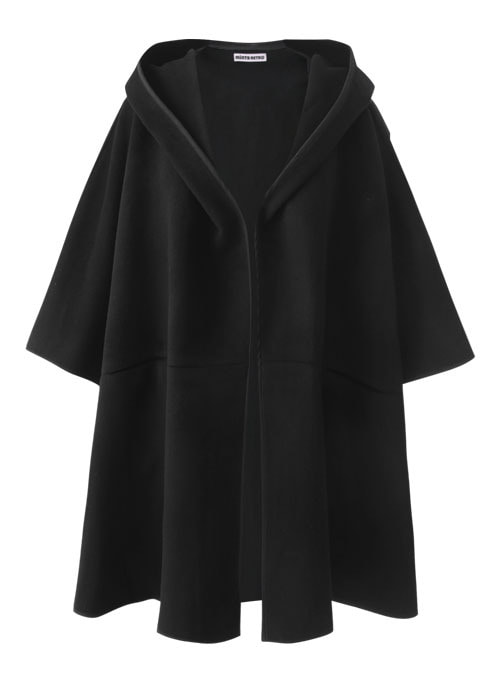 Barbara Black Wool Cape