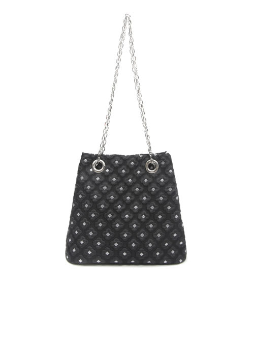 Daff Black Fabric Chain Bag