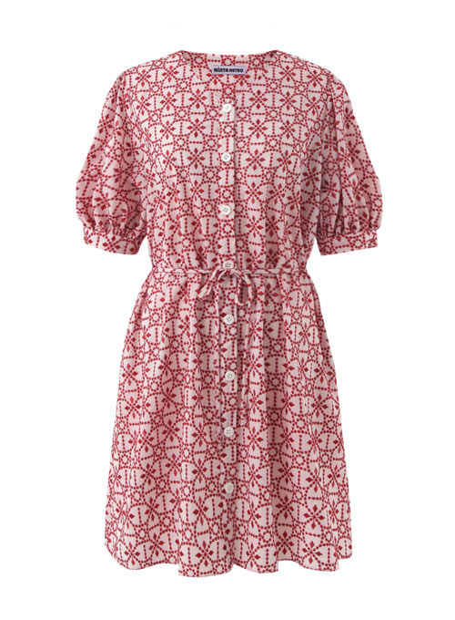 Summer Red Embroidery Cotton Dress [Limited Edition]