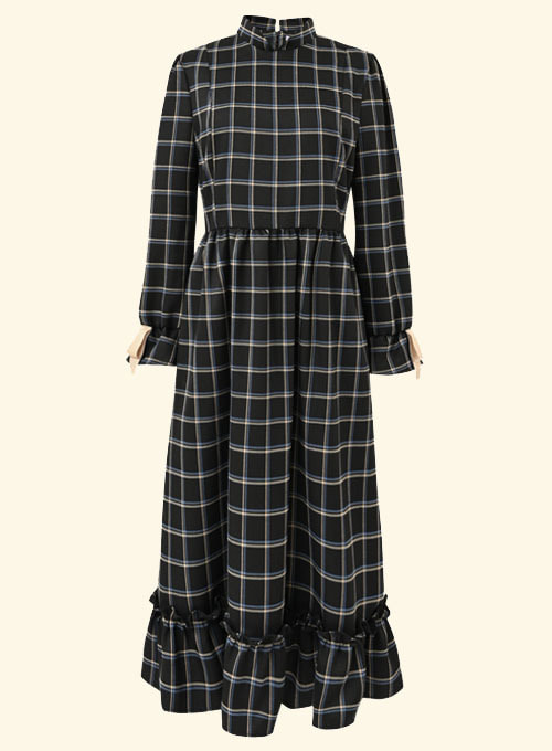 Queen Black Check Long Dress