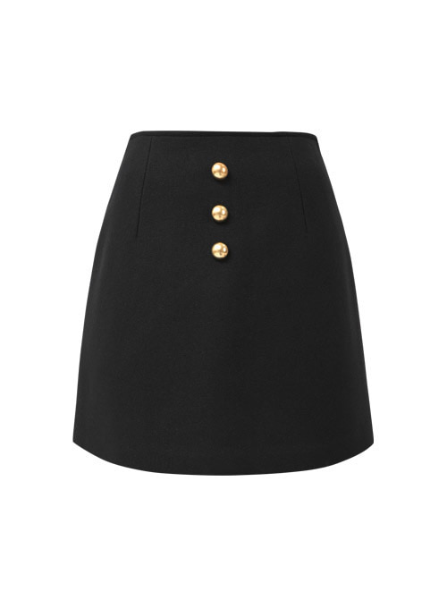 Karen Black Wool Skirt