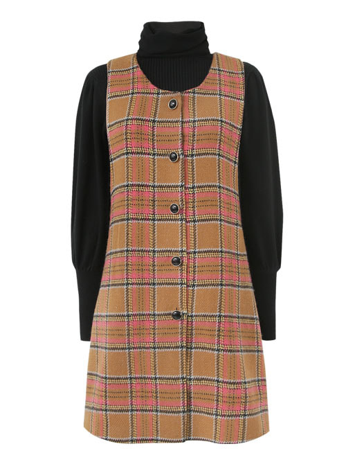 Cookie Check Wool Dress