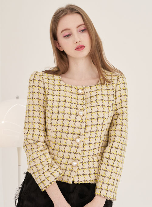 Lemon Yellow Tweed Jacket [이효나 착용]