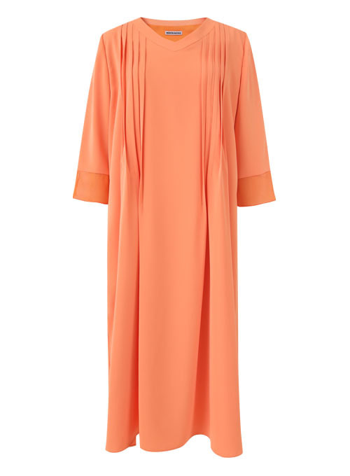 Orange Pin tuck Long Dress