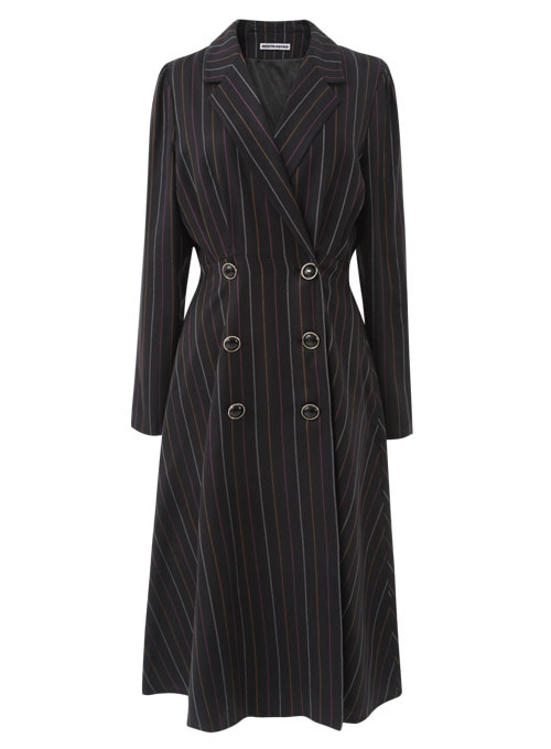 Marcia stripe Black Long Dress