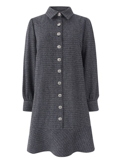 Win Herringbone Wool Dress