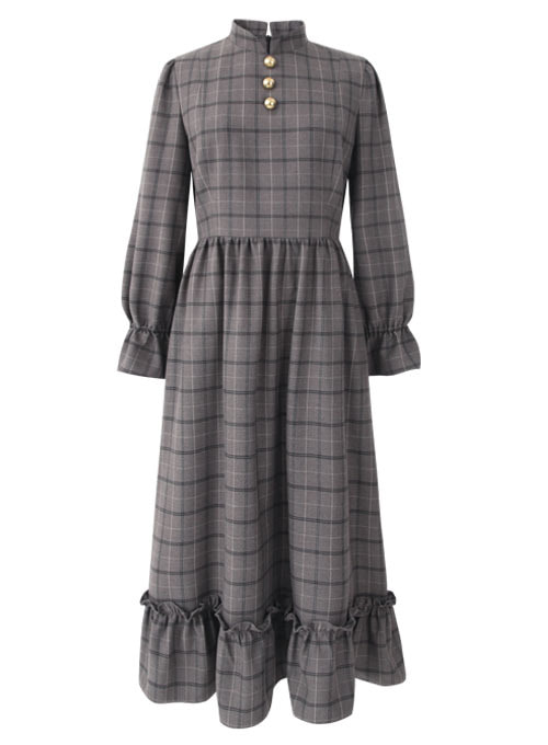 Love Grey Check Long Dress