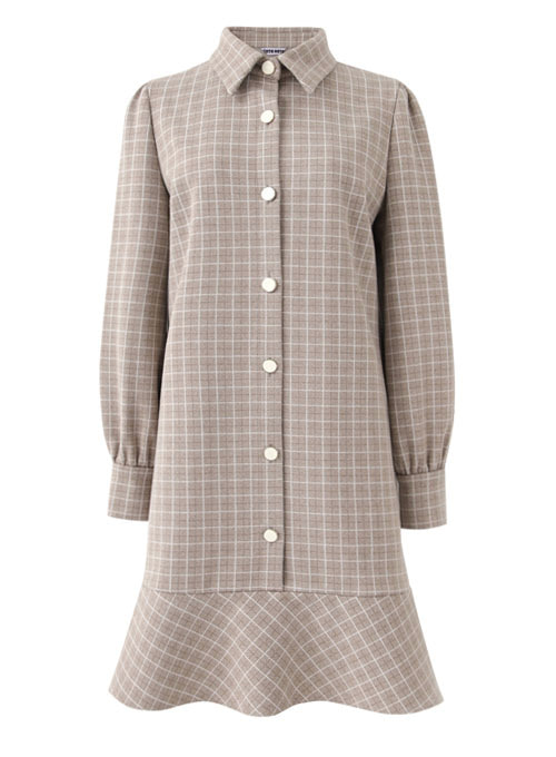 Tess Ivory Check Dress