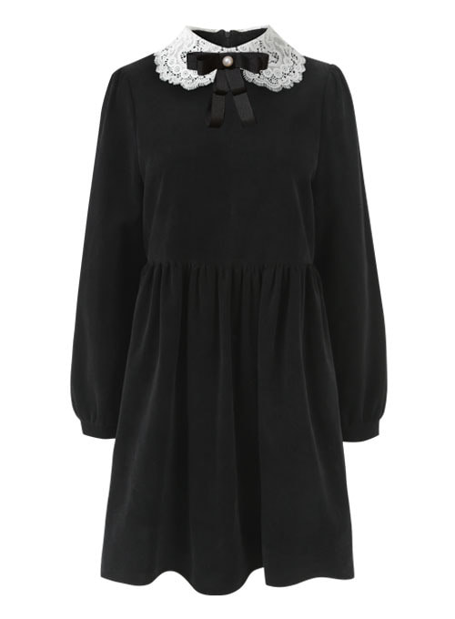 Moon Lace Black Corduroy Dress