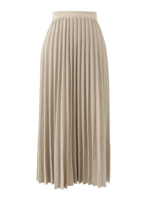 Roin Ivory Pleats Long Skirt