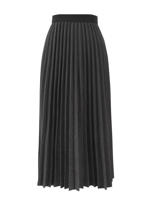 Roin Grey Pleats Long Skirt
