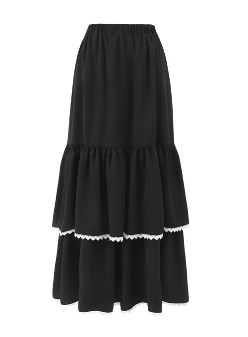 Serena Black Flower Long Skirt