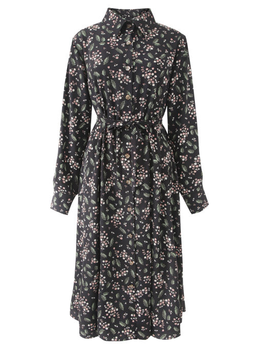 Masa Flower Black Long Dress