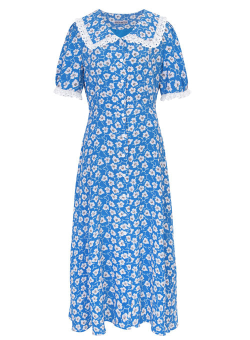 Millie Blue Flower Long Dress